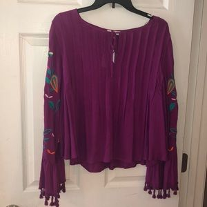 Fuchsia Embroidered Bell Sleeve Top (NEW)